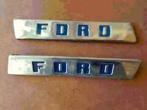 Lot Of 2 Vintage Ford Truck Block Letter Side Hood Emblem Name Plate 8 Long