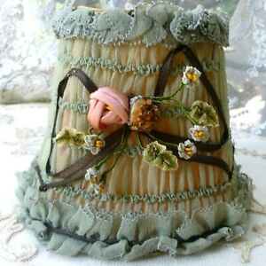 Original French Ribbon Work Ruched Silk Lampshade