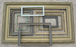 8 Vintage Wood Art Picture Frame Lot Collection Painted Gold Chippy Fabulous Old