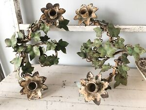Pair Vintage Italian Tole Ivy Candle Holders Table