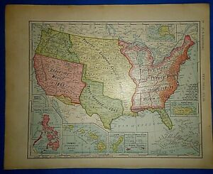 Vintage 1910 United States Acquisitions Annexations Map Old Antique Original