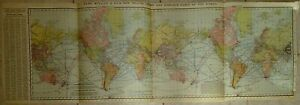 Vintage 1910 Travel Chart Distance Table Of The World Map Old Antique Original