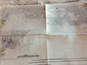 Vintage Nautical Chart Sete To Marsellis 27 Aug 1894