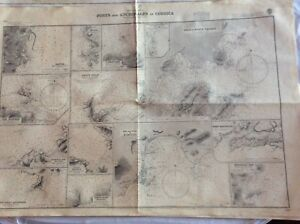 Vintage Nautical Chart Ports And Anchorages In Corsica Nov 10 1870