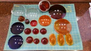 20 Vintage Red Amber Blue Glass Head Tail Light Lens Lot Rat Hot Rod Fire Stop