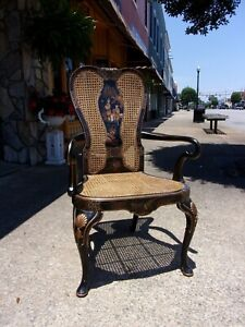 Fantastic Queen Anne Chinoiserie Library Chair Crafted By Chelsea House 20thc