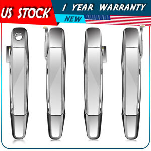 Chrome Outer Front Rear Door Handle Set 4 Kit For 07 13 Chevy Pickup Truck Us