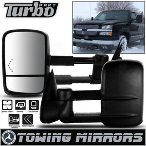 Fit 03 06 Chevy Tahoe Suburban Pair Towing Mirrors Power Heated Red Turn Signal