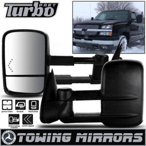 Fit 2003 2006 Chevy Silverado Pair Towing Mirrors Power Heated Red Turn Signal