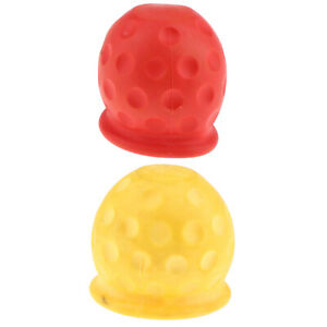 2pcs Tow Ball Towing Protective Cover For Car Truck Trailer Yellow Red