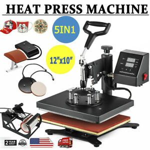 Heat Press Machine 5 In 1 Swing Away Digital Sublimation T shirt mug plate Hat
