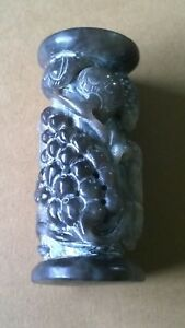 Nephrite Jade Stand Column Floral Grapes Fruits Black Gray Color 3 3 8 Tall