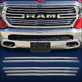 Chrome Grille Overlay 5 Pcs Fits 2019 2020 Dodge Ram Truck 1500 W 5 bar Grill