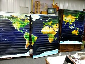 School Map Earth Satellite View Pull Down Displays 3 Piece 48 X 70 Each