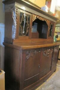 Antique Old World Bar Credenza Sideboard China Cabinet Furniture