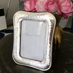 Fine Italian Argento Sterling Silver Glossy Hammered 4 X 6 Picture Photo Frame