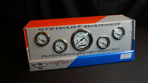 Stewart Warner 82228 Wings Five Gauge Set Electric White Face 1932 Ford