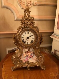 Beautifully Painted Antique Cherub Clock By Ansonia Clock Company
