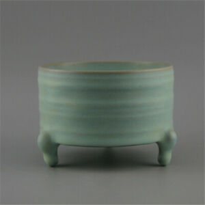 Chinese Old Porcelain Brush Washer Ru Kiln Azure Glaze Incense Burner