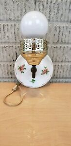 Vintage Ceramic Floral Porcelain Wall Sconce Old Art Deco Light Fixture