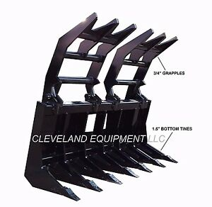 New 72 Severe duty Root Grapple Rake Attachment Skid steer Loader Brush Rock 6