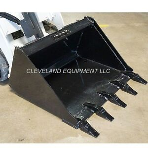 New 44 Mini Low Profile Tooth Bucket Bobcat 463 S70 Skid steer Loader W Teeth