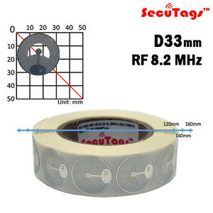 Eas Anti theft Security Checkpoint Round Soft Tag Rf 33mm Chrome 8 2mhz 1000pcs