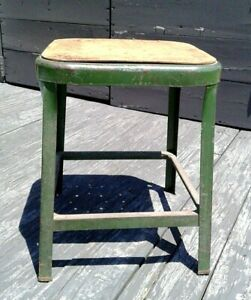Vintage Square Metal Industrial Shop Stool Masonite Seat Green Retro