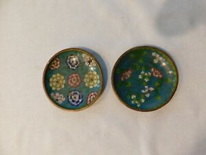 2 Antique Chinese Cloisonne Hand Painted Floral Plates About 4