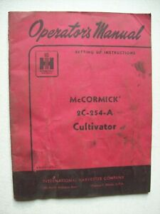 Original International Mccormick 2c 254 a Cultivator Operators Manual 1955