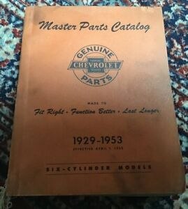 Vintage 1929 1953 Chevrolet Master Parts Catalog Book Pickup Truck 6 Cylinder