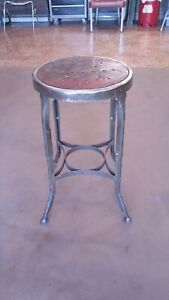 Vtg Antique Toledo Uhl Draftsman Machine Metal Factory Island Industrial Stool