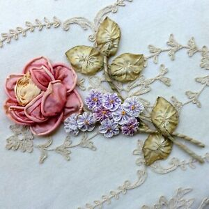 Antique French Silk Ribbon Work Rose