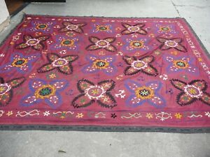 Antique 1920 S Hand Embroidered Uzbek Suzani Wall Hanging 8 Feet By 10 Feet