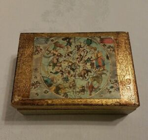 Vintage Gold And Green Italian Florentine Wood Tole Dresser Jewelry Trinket Box