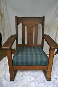 Mission Arts And Craft Solid Oak 1920 S Stickley Era Rocking Chair