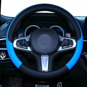 Blue Steering Wheel Cover Leather Universal 15 Inch Fit Anti Slip Odor Free New