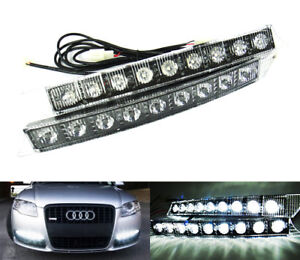 2x High Power 9 Smd Led For Audi Drl Daytime Running Fog Parking Lig