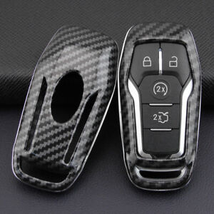 For Ford 2013 2019 Carbon Fiber Hard Smart Key Fob Case Shell Cover Accessories