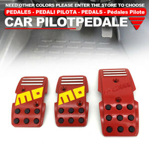 Red Universal Manual Mt Racing Sport Truck Car Non slip Pedals Pad Cover Set
