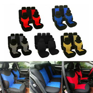 Universal Car Seat Covers Front Rear Head Rests Set Auto Seat Cover Protector