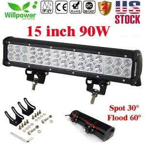 15inch 90w Led Work Light Bar Flood Spot For Off Road 4wd Truck Suv Car Jeep Atv