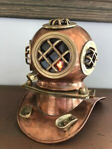 Copper Brass Antique Divers Helmet Lamp