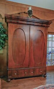 Empire Classical Armoire Wardrobe Flame Mahogany Early 1800 S