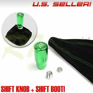 Fit Acura Honda M10 White 5 Speed Manual Gear Shift Knob Lever Green Stitch Boot