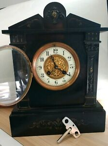 Antique French Black Marble Mantle Clock Gold Accents S Marti Medaille D Argent