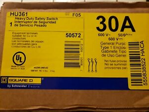 Square D 30 Amp Heavy Duty Safety Switch Hu361 600 Vac Nonfusible New sealed
