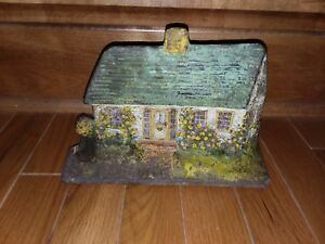 Doorstop Cast Iron Cape Cod House Cottage Albany Foundry Amazing Color 1920s 30s