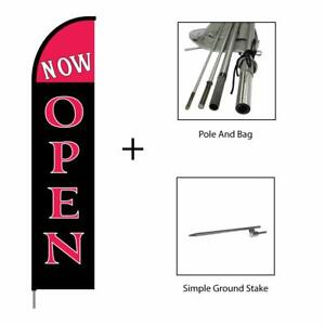 Now Open Feather Flag Banner Pole Kit Swooper Advertising Sign 15ft Crimson