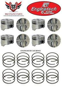 Ford Mercury 289 302 5 0 Enginetech Flat Top Pistons 8 With Cast Rings 64 85